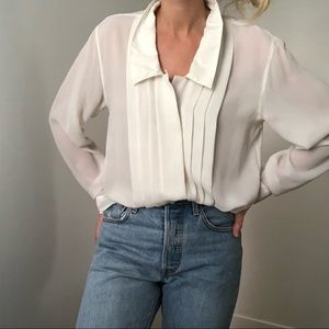 VINTAGE/ pleated collared blouse